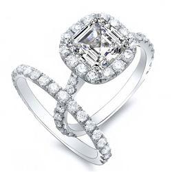 Natural 2.82 CTW Halo Asscher Cut Diamond Engagement Set 18KT White Gold