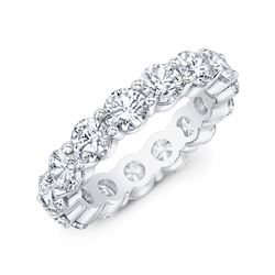 Natural 3.02 CTW Round Brilliant Diamond Eternity Band Wedding Ring 18KT White Gold