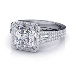 Natural 2.83 CTW Halo Radiant Cut, Channel Baguette & Round Diamond Engagement Ring 14KT White Gold