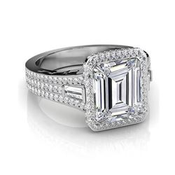 Natural 5.32 CTW Emerald Cut & Baguettes Halo Diamond Engagement Ring 14KT White Gold