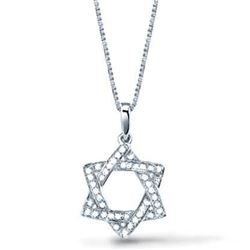 Natural 0.27 CTW Pave Set Diamond Star of David Pendant With Chain 14KT White Gold