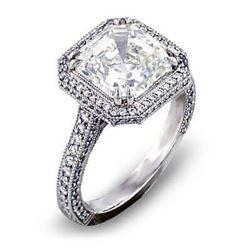 Natural 2.02 CTW Asscher Cut Halo Diamond Engagement Ring 18KT White Gold