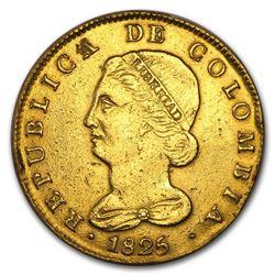 1825 Colombia JF Bogota Gold 8 Escudos VF Details