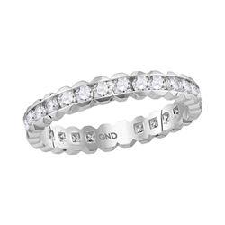 14kt White Gold Womens Round Channel-set Diamond Eternity Wedding Band 1 Cttw