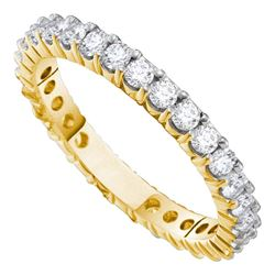 14kt Yellow Gold Womens Round Pave-set Diamond Eternity Wedding Band 1 Cttw