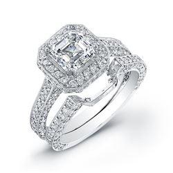 Natural 3.27 CTW Halo Asscher Cut Diamond Engagement Ring 18KT White Gold