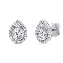 Natural 1.12 CTW Diamond Tear Drop Earrings 18KT White Gold