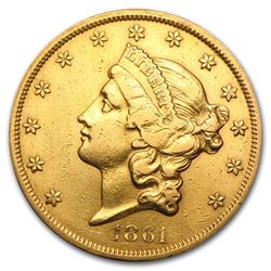 1861 $20 Liberty Gold Double Eagle XF Details (Cleaned)