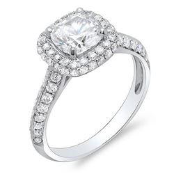 Natural 2.22 CTW Halo Cushion Cut Knife Edge Shank Diamond Ring 14KT White Gold