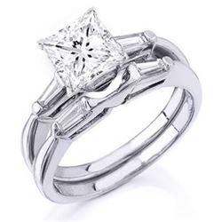 Natural 1.52 CTW Princess Cut & Baguettes Diamond Engagement Set 18KT White Gold