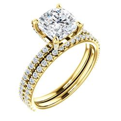 Natural 2.52 CTW Under-Halo Cushion Cut Diamond Ring 18KT Yellow Gold