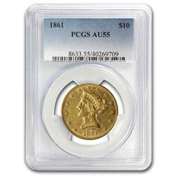 1861 $10 Liberty Gold Eagle AU-55 PCGS