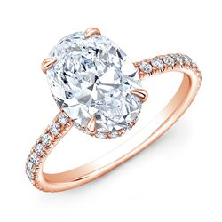 Natural 2.62 CTW Hidden-Halo Oval Cut Diamond Engagement Ring 18KT Rose Gold