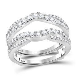 14kt White Gold Womens Round Diamond Wrap Ring Guard Enhancer 5/8 Cttw