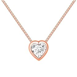 Natural 0.52 CTW Bezel Diamond Heart Necklace 14KT Rose Gold