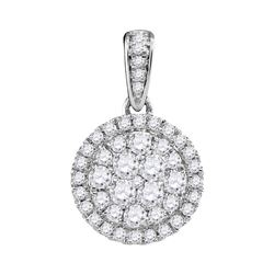 14kt White Gold Womens Round Diamond Concentric Circle Frame Cluster Pendant 1/2 Cttw