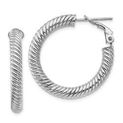 10k White Gold Twisted Round Omega Back Hoop Earrings - 4x20 mm