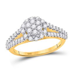 14kt Yellow Gold Womens Round Diamond Circle Cluster Ring 3/4 Cttw
