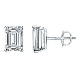 Natural 1.52 CTW Emerald Cut Diamond Stud Earrings 18KT White Gold