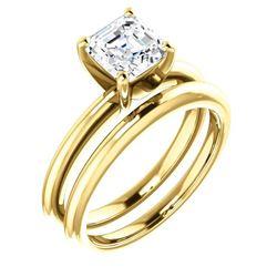 Natural 1.02 CTW Asscher Cut Diamond Engagement Ring 18KT Yellow Gold