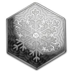 10 oz Silver Hexagon - Snowflake