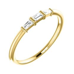 Natural 0.19 CTW 3-Stone Baguette Diamond Solitaire Ring 14KT Yellow Gold