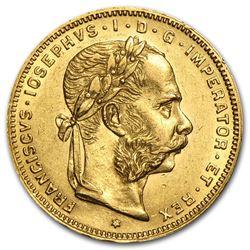 1870-1891 Austria Gold 8 Florin/20 Francs AU (Random)