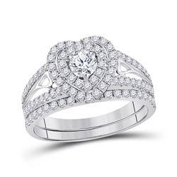 14kt White Gold Diamond Heart Bridal Wedding Ring Band Set 1-1/5 Cttw