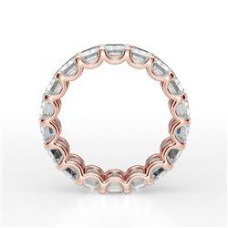 Natural 7.02 CTW U-Setting Emerald Cut Diamond Eternity Ring 14KT Rose Gold