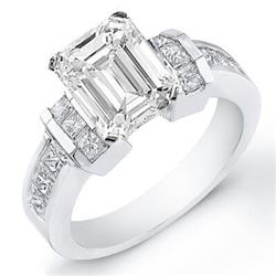 Natural 2.93 CTW Emerald Cut Diamond Engagement Ring 14KT White Gold