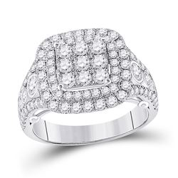 14kt White Gold Womens Round Diamond Square Cluster Ring 1-7/8 Cttw