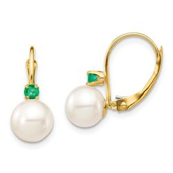14k Yellow Gold White Pearl Emerald Leverback Earrings - 7-7.5 mm