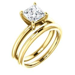 Natural 1.02 CTW Princess Cut Diamond Solitaire Ring 14KT Yellow Gold