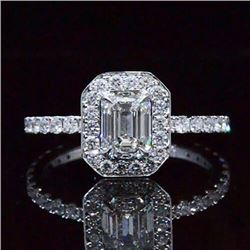 Natural 1.97 CTW Emerald Cut Halo Diamond Engagement Ring 18KT White Gold