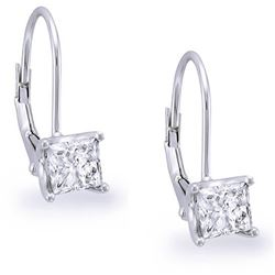 Natural 0.92 CTW Lever Back Princess Cut Diamond Earrings 14KT White Gold