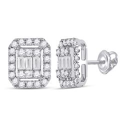 14kt White Gold Womens Baguette Diamond Rectangle Cluster Earrings 1/2 Cttw