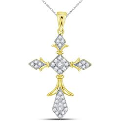 14kt Yellow Gold Womens Round Diamond Fleur Cross Pendant 1/4 Cttw