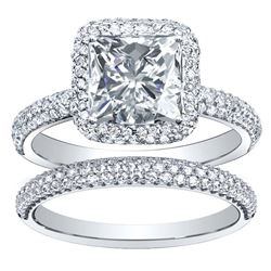 Natural 3.47 CTW Princess Cut Halo Pave Diamond Engagement Ring 14KT White Gold