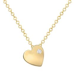 Natural 0.02 CTW Tender Heart Diamond Necklace 18KT Yellow Gold