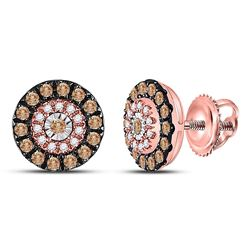 14kt Rose Gold Womens Round Brown Diamond Halo Earrings 1/2 Cttw