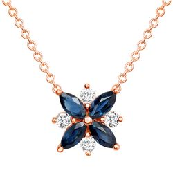Natural 1.26 CTW Diamond & Blue Sapphire Necklace 14KT Rose Gold