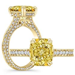 Natural 3.02 CTW Canary INTENSE Yellow Cushion Cut Diamond Engagement Ring 18KT Yellow Gold