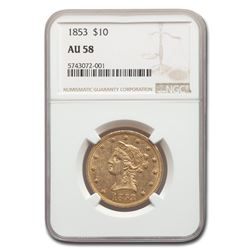 1853 $10 Liberty Gold Eagle AU-58 NGC