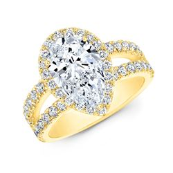 Natural 2.37 CTW Halo Pear Cut Tear Drop Split Shank Diamond Ring 18KT Yellow Gold