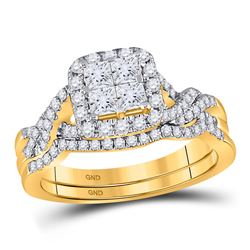 14kt Yellow Gold Princess Diamond Bridal Wedding Ring Band Set 1 Cttw