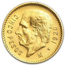 1920 Mexico Gold 5 Pesos AU
