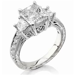 Natural 2.92 CTW Radiant Cut Diamond Ring 18KT White Gold