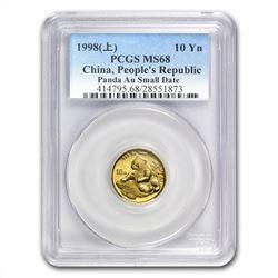 1998 China 1/10 oz Gold Panda Small Date MS-68 PCGS