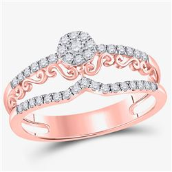 14kt Rose Gold Womens Round Diamond Modern Filigree Band Ring 1/3 Cttw