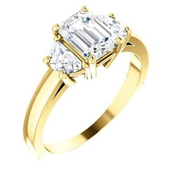 Natural 2.12 CTW 3-Stone Emerald Cut & Half Moons Diamond Ring 14KT Yellow Gold
